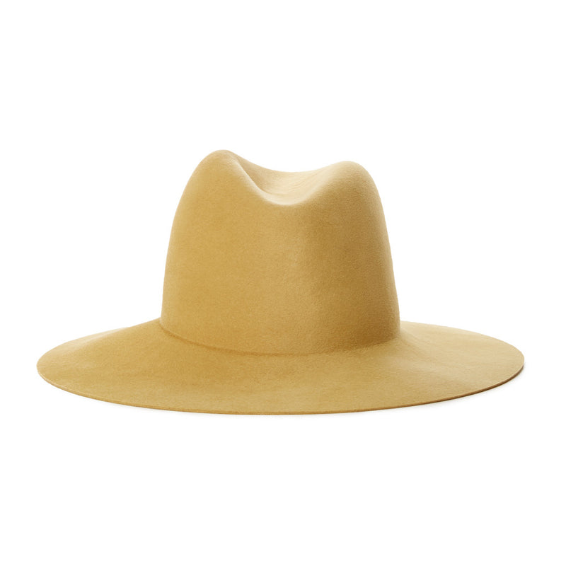 gold womens wool fedora with short brim designed with quality materials and made in USA designed by Janessa Leone high end luxury fedora hats for winter and fall for women - simple fedora with no trim