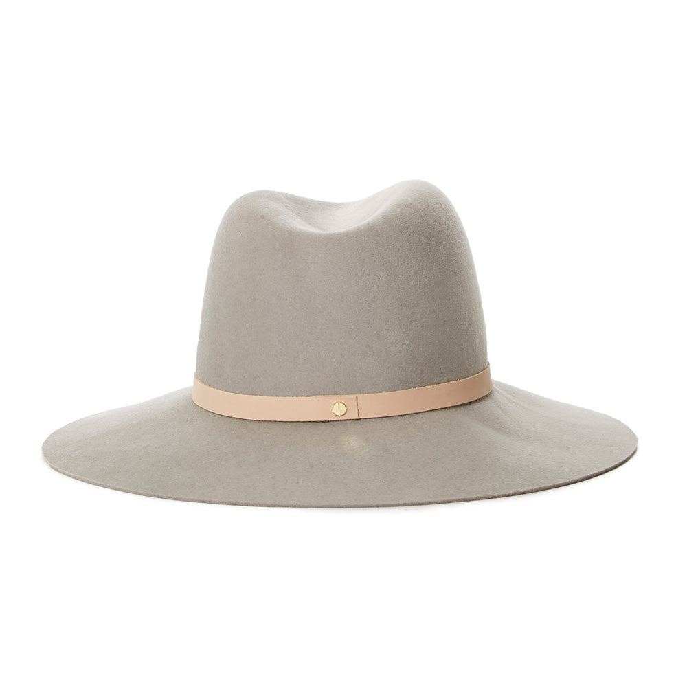 Drew best selling janessa leone hats made with quality sand wool felt fedora with tan band and silver screw detail designed by janessa leone in USA made with quality materials for women autumn fall winter collection 2019 high end luxury hats for women great for traveling