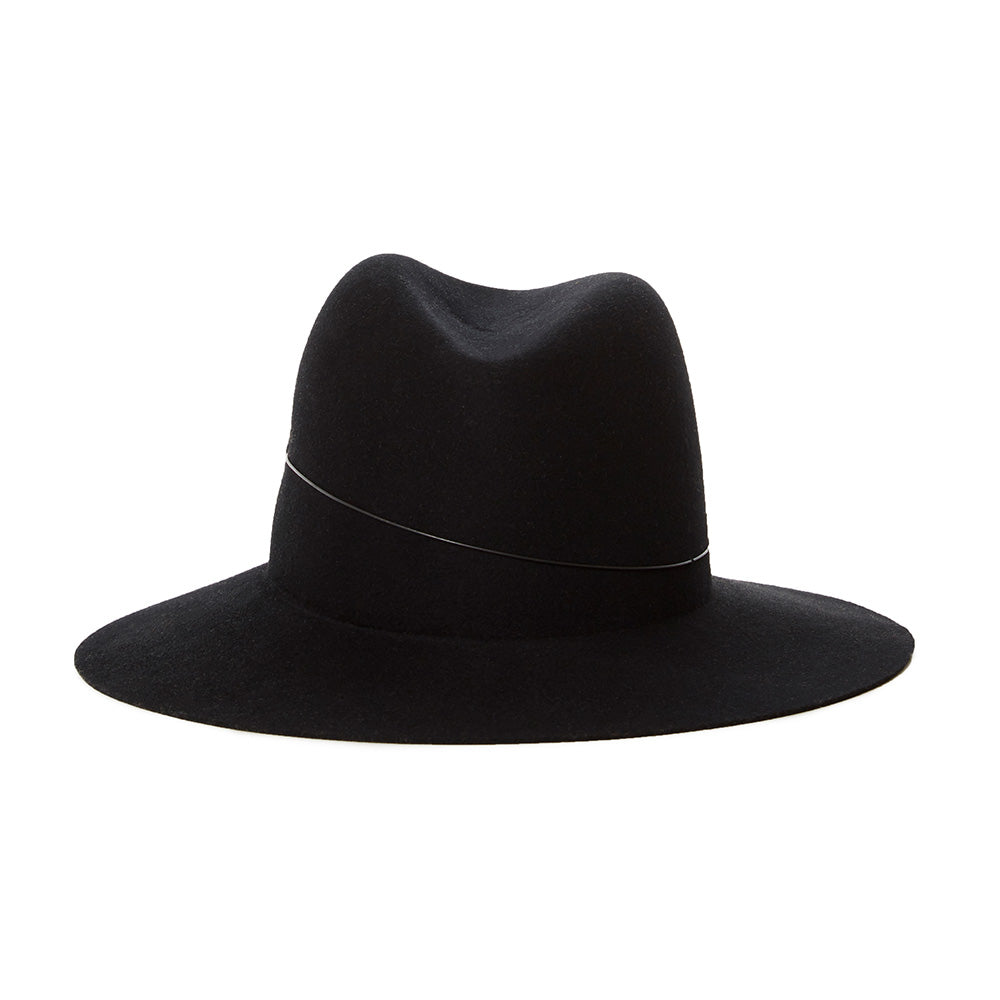 classic black wool fedora for winter. womens hats by janessa leone. Perfect hat for traveling. Black fedora with metal band detail. High end luxury hats handmade in USA