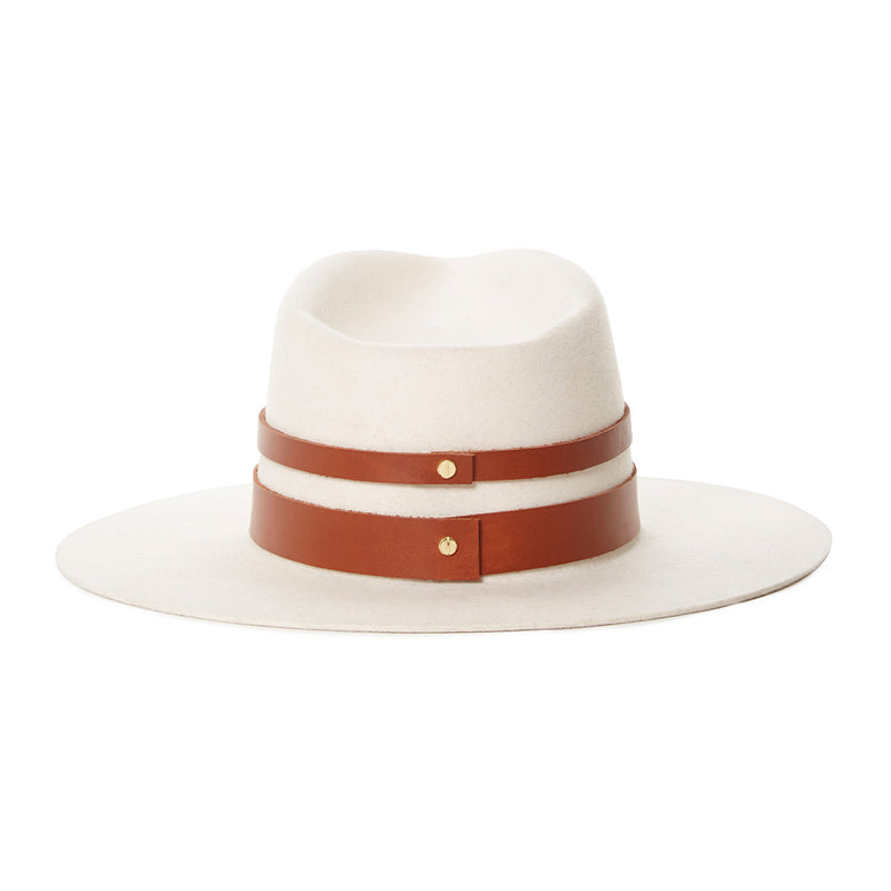 White stiffened wool fedora with leather bands for classic look. Amazing hat for winter and fall- women's luxury high end hats made from virgin wool - designed by Janessa Leone - gold screw closure and leather detail - structured wool fedora