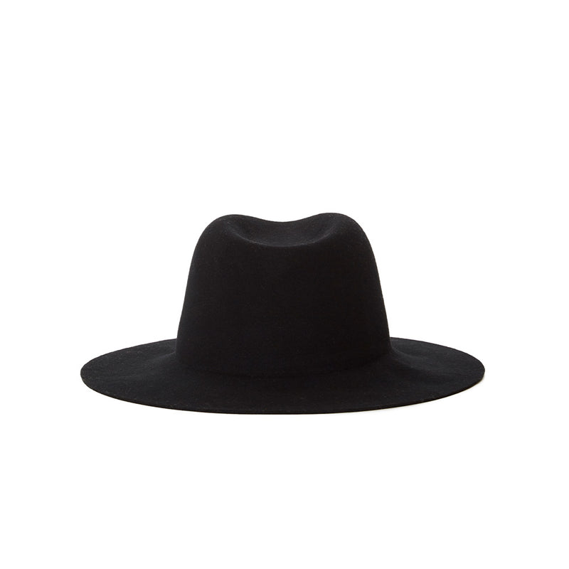 Packable wool felt fedora with removable ties. All black fedora Leather ties detachable great for travel. Packable hats by Janessa Leone. Classic black design with functional material. Made in the USA. Luxury high end hats made with quality