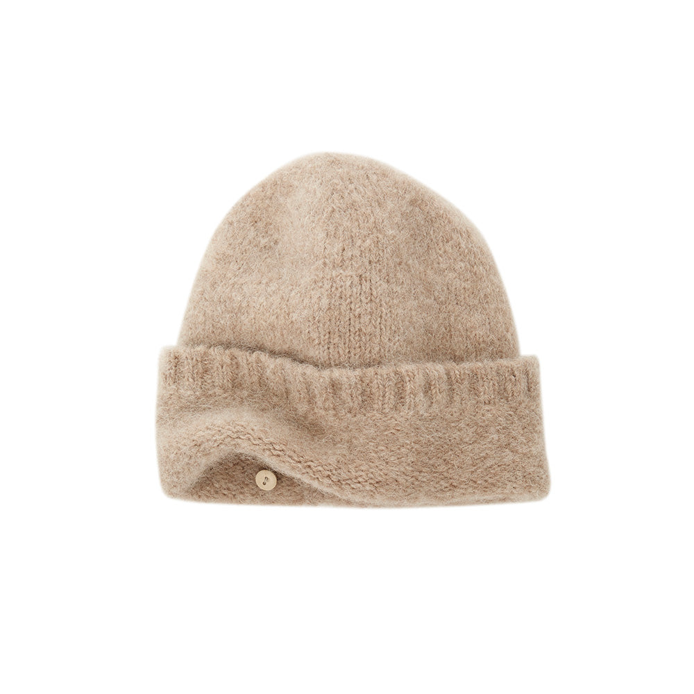 light brown super soft beanie with light and two detachable soft scarves that can be wrapped or tiedribbing quality materials designed by Janessa Leone easy to wear beanie with ribbed design fall winter womens travel hats luxury high end hats and beanies
