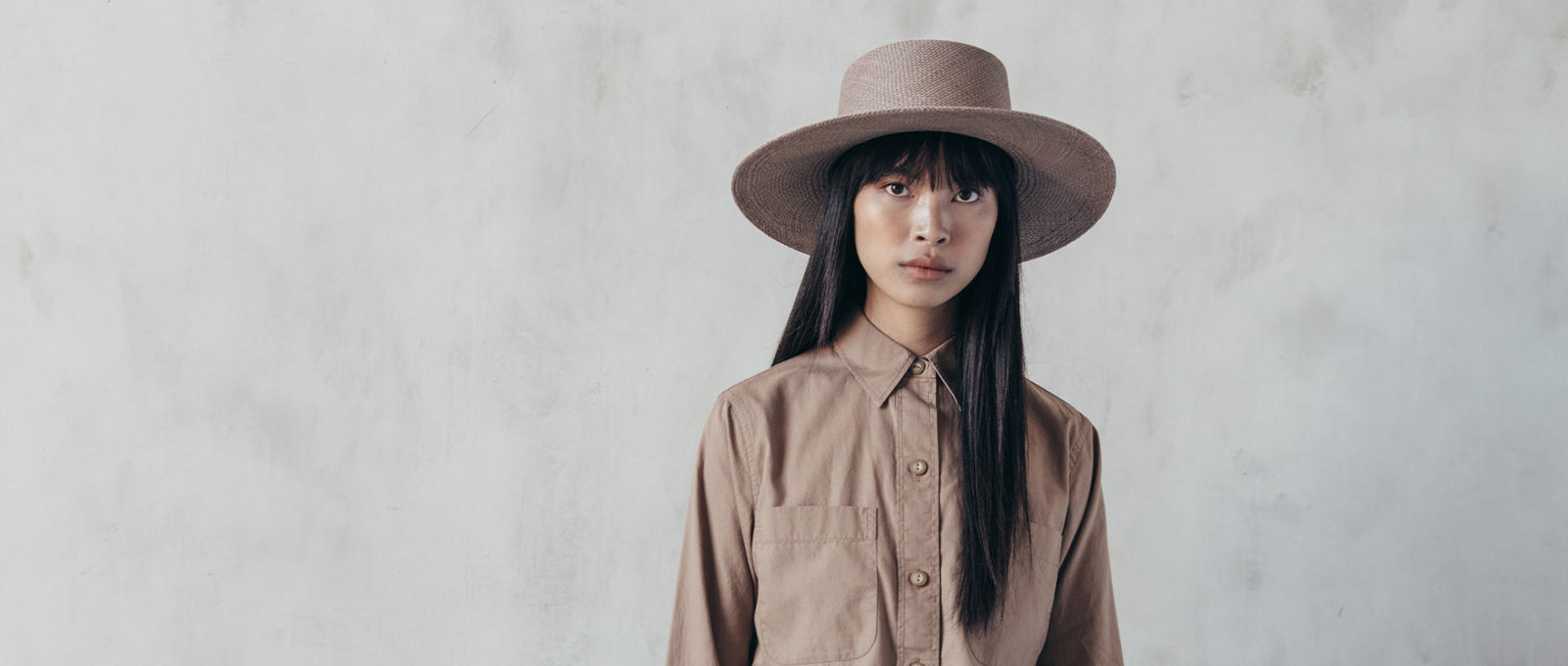 Rena hat designed by Janessa Leone, panama straw boater hat for women. Traveling hat that is brown and beige tonal band