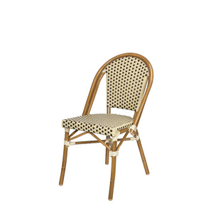 Peoria Dining Side Armless Chair - Cream and Chocolate
