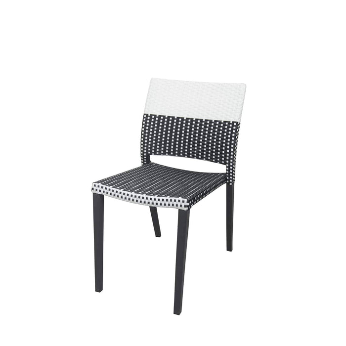 Coronado Dining Side Armless Chair - Black Frame with Black & White Duraweave