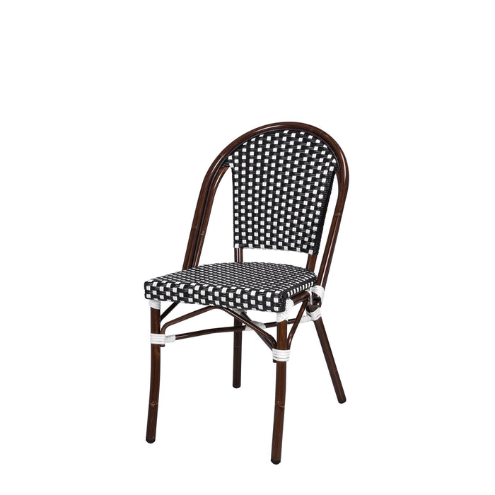 Peoria Dining Side Armless Chair - Black and White