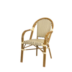 Engram Dining Arm Chair Cream and Chocolate RH Patio