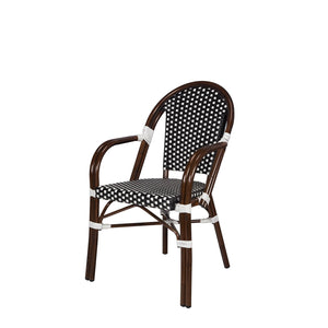 Engram Dining Arm Chair Black and White RH Patio