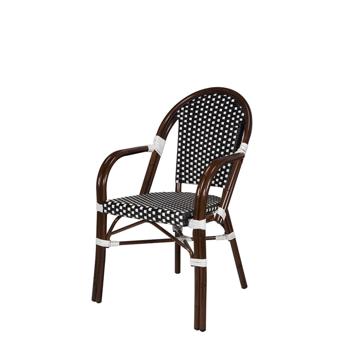 Peoria Dining Arm Chair - Black and White