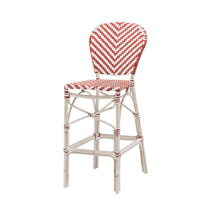 Engram Vintage Bar Side Armless Chair Red and White