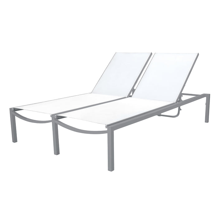 Florence Double Armless Chaise - Silver Vein