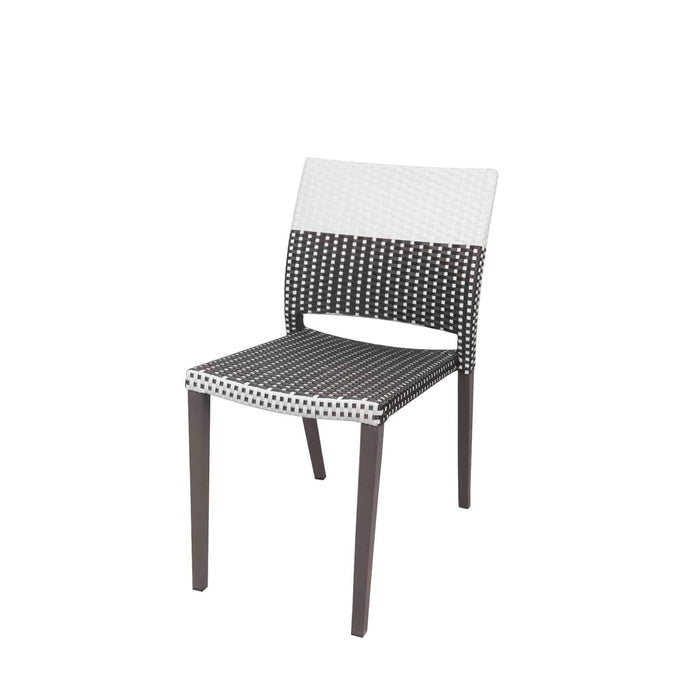 Coronado Dining Side Armless Chair - Espresso Frame with Espresso & White Duraweave