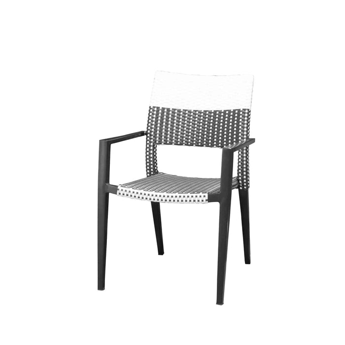 Coronado Dining Arm Chair - Black Frame with Black/White Weave