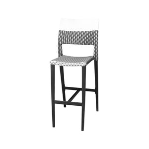 Coronado Bar Side Armless Chair - Black Frame with Black & White Duraweave | Your Patio Store
