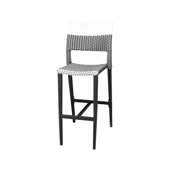 Coronado Bar Side Armless Chair - Black Frame with Black & White Duraweave