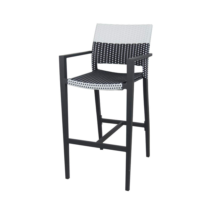 Coronado Bar Arm Chair - Black Frame with Black & White Duraweave
