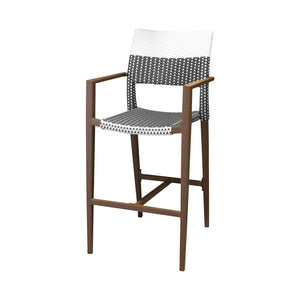 Coronado Bar Arm Chair - Espresso Frame with Espresso & White Duraweave | Your Patio Store