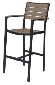 Naples Bar Arm Chair (Black Frame & Gray Durawood)