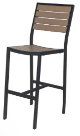 Naples Bar Side Chair (Black Frame & Gray Durawood)