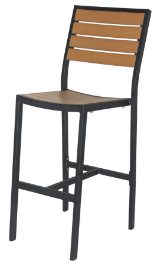 Naples Bar Side Chair (Black Frame & Teak Durawood)