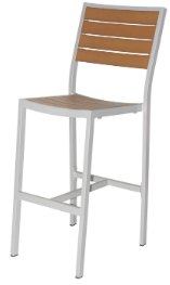 Naples Bar Side Chair (Silver Frame & Teak Durawood)