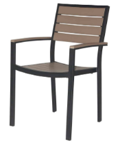 Naples Dining Arm Chair (Black Frame & Gray Durawood)