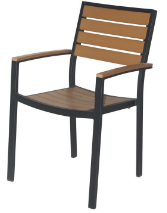 Naples Dining Arm Chair (Black Frame & Teak Durawood)