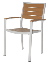 Naples Dining Arm Chair (Silver Frame & Teak Durawood)
