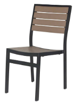 Naples Dining Side Chair (Black Frame & Gray Durawood)