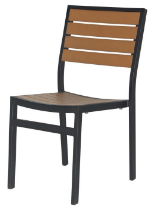 Naples Dining Side Chair (Black Frame & Teak Durawood)