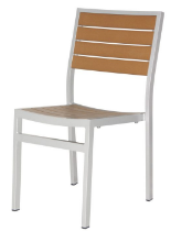 Naples Dining Side Chair (Silver Frame & Teak Durawood)