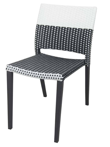 Chloe Wicker – Dining Side Chair (Black Frame, Black & White Duraweave)