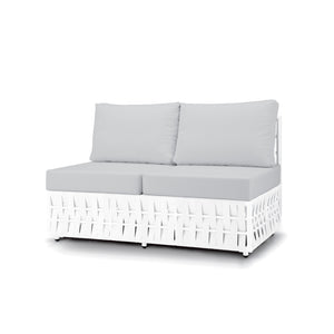 San Juan Armless Lounge Loveseat (White Durastrap)