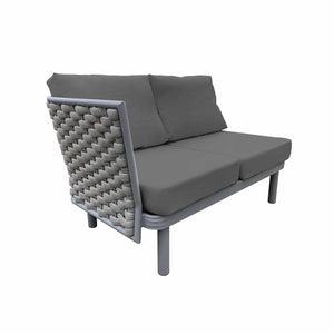Laguna Left Arm Loveseat (Silver Durarope) | Your Patio Store