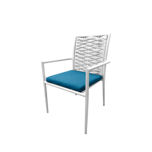 Aegean Dining Arm Chair: Style 2 - White | Your Patio Store