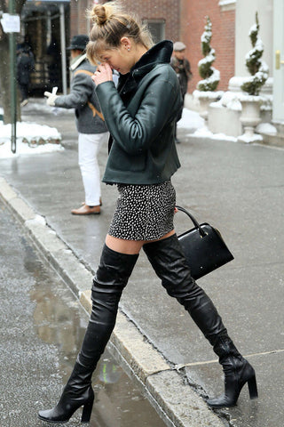 Hailey Baldwin thigh high boots
