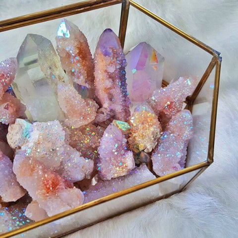 Dreamy crystals pink and purple