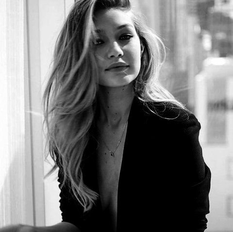 Black and white Gigi Hadid photograph