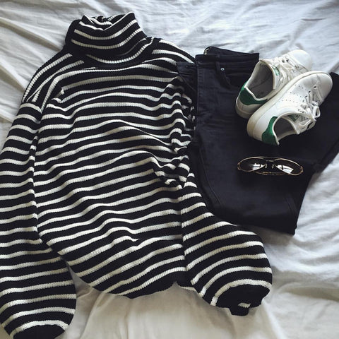 Stripey black and white sweater online shopping