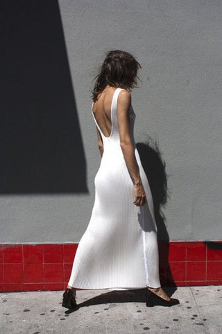 Low back rib knitted white dress fashion inspiration