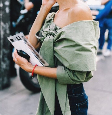 Green off the shoulder top street style