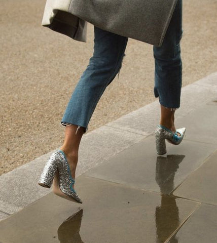 Glitter heels denim frayed street style winter