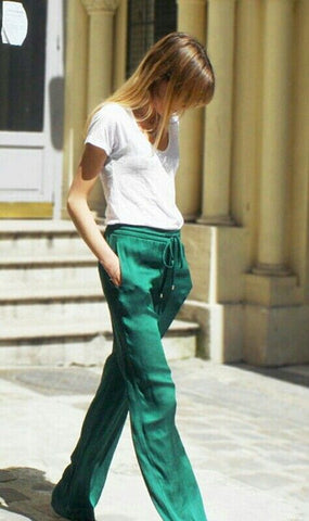 Emerald green pants white tshirt