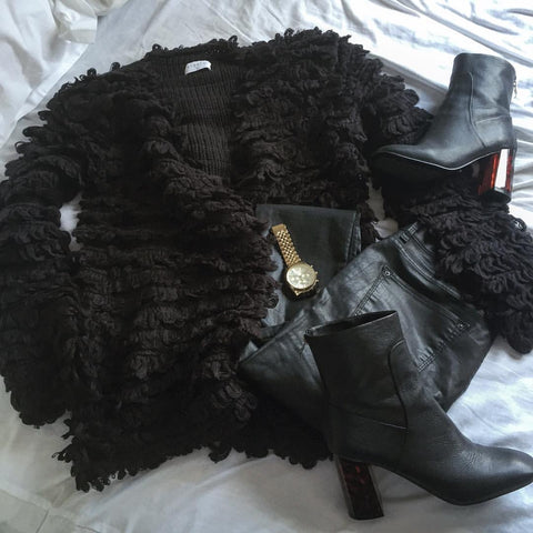 ellis and friends fashion designer photography new zealand black shaggy jacket