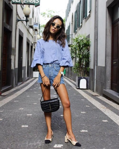 Denim cut offs with chanel pumps