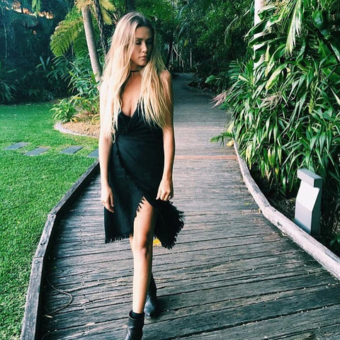 Black wrap dress new zealand online womens designer clothing boutique shop street style