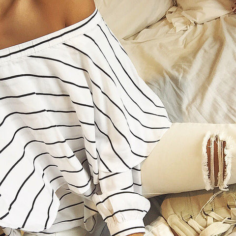 White off the shoulder stripe top Ellis and friends