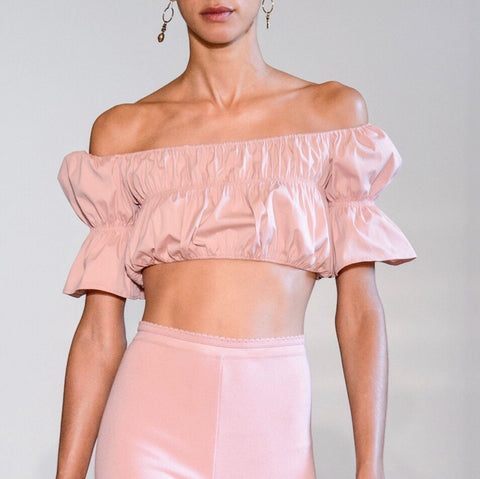 Pink ruffled off the shoulder top