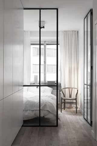 Simple white bedroom interior