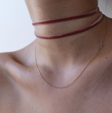 Velvet pink choker necklace